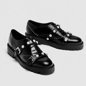 Zara Pearl Black Leather Derby Buckle Strap Shoes